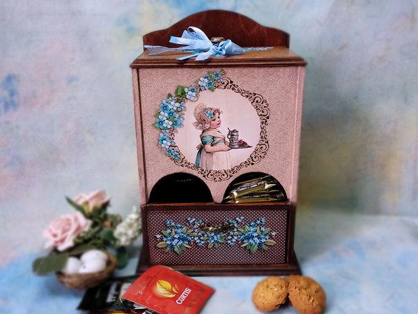 Декупаж буфетика «Незабудки» для чайных пакетиков | Ярмарка Мастеров - ручная работа, handmade