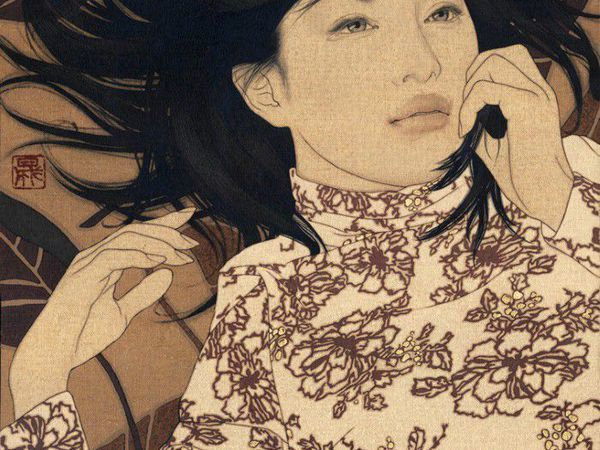 Женский портрет японского художника Ikenaga Yasunari | Ярмарка Мастеров - ручная работа, handmade