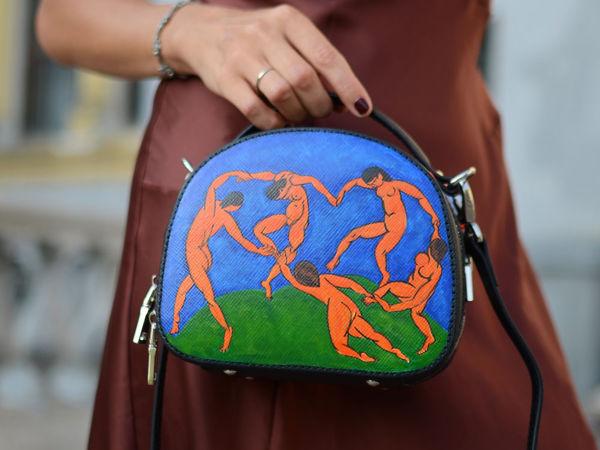 Видео сумочки с ручной росписью Танец Матисс | Ярмарка Мастеров - ручная работа, handmade