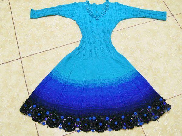 Вязаное шерстяное платье Ундина авторская ручная работа от кутюр  с эффектом деграде,   Ярмарка Мастеров - ручная работа, handmade