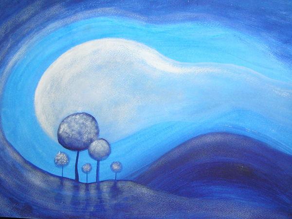 Уроки рисования. Рисуем пейзаж «Голубые дали». Часть 3 | Ярмарка Мастеров - ручная работа, handmade