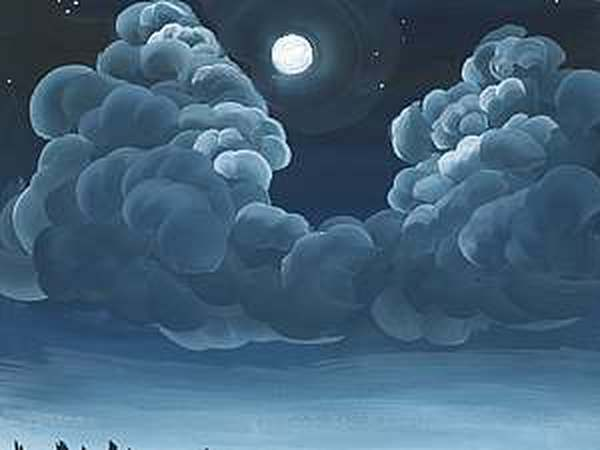 Ночные облака двойным мазком | Ярмарка Мастеров - ручная работа, handmade