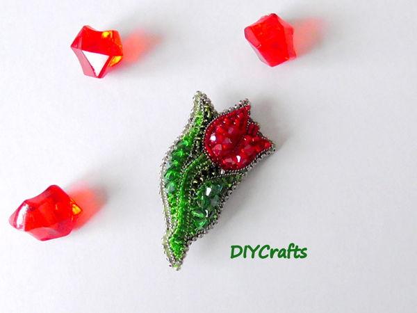 Создаем брошь «Тюльпан»  из бисера | Ярмарка Мастеров - ручная работа, handmade