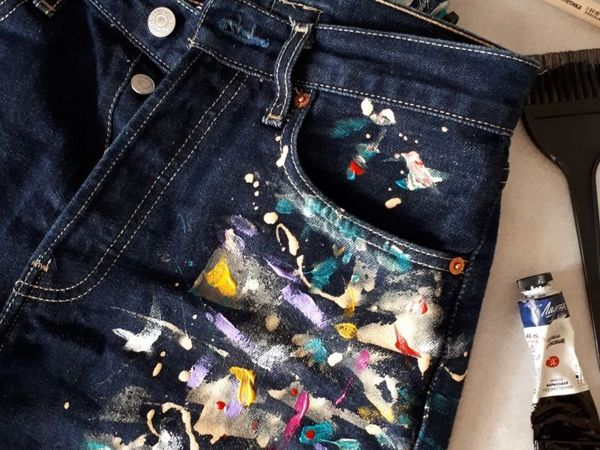 Painting Jeans with Acrylic Paints | Livemaster - handmade