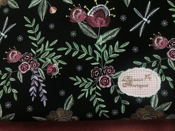 Наши новинки: Этнические цветы на черном Футер 2-х нитка с лайкрой | Ярмарка Мастеров - ручная работа, handmade