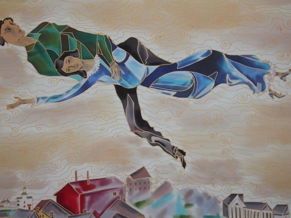 Панно Над городом.Вольная копия Марка Шагала. | Ярмарка Мастеров - ручная работа, handmade