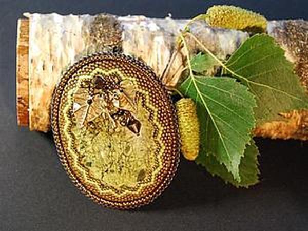 Оформление зубчатого края при обшивке кабошона бисером | Ярмарка Мастеров - ручная работа, handmade