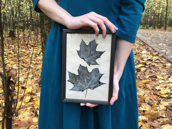 Создаём картину со скелетированными кленовыми листьями   Ярмарка Мастеров - ручная работа, handmade