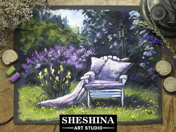 Видеоурок: рисуем пейзаж с креслом в цветущем саду сухой пастелью   Ярмарка Мастеров - ручная работа, handmade