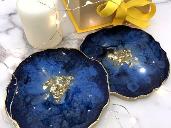 Новинка: Подставочки в синем | Ярмарка Мастеров - ручная работа, handmade