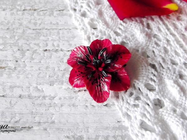 Видео мастер-класс: брошь «Черно-красная лилия» из полимерной глины | Ярмарка Мастеров - ручная работа, handmade