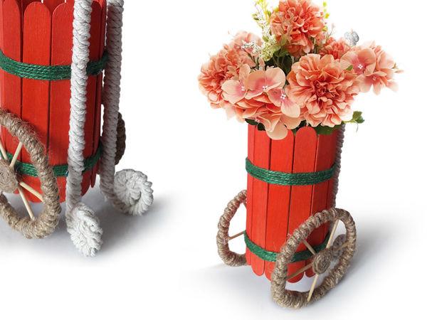 Делаем кашпо из палочек своими руками   Ярмарка Мастеров - ручная работа, handmade