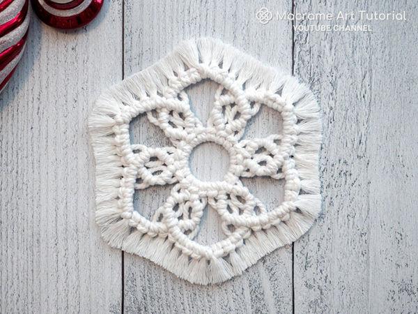 Делаем снежинку в технике макраме | Ярмарка Мастеров - ручная работа, handmade