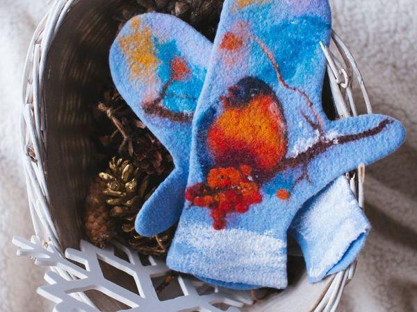 Валяные варежки с живописью шерстью | Ярмарка Мастеров - ручная работа, handmade