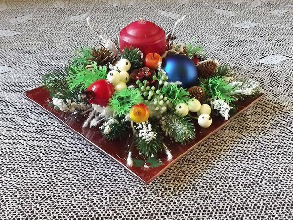 Создаем новогоднюю композицию со свечой «Минуты отдыха» | Ярмарка Мастеров - ручная работа, handmade