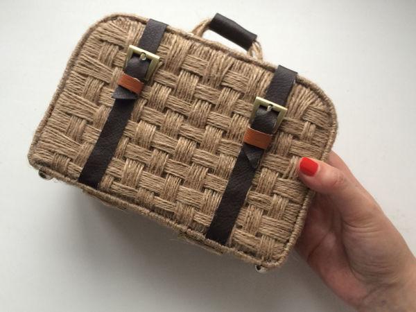 Как сделать плетёный чемоданчик из джута и картона своими руками | Ярмарка Мастеров - ручная работа, handmade