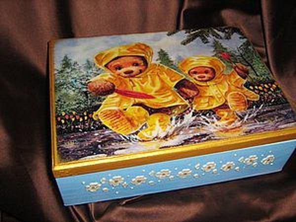 Декупаж шкатулки «Мишкина любовь» | Ярмарка Мастеров - ручная работа, handmade
