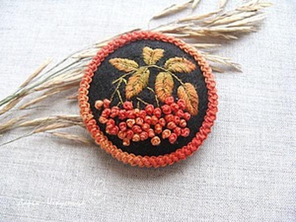 Создаем брошь из фетра с вышивкой «Рябинка» | Ярмарка Мастеров - ручная работа, handmade
