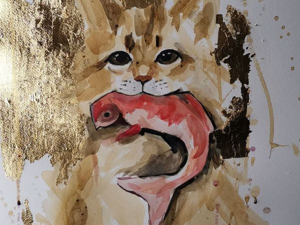 Рисуем рыжего котика в технике Кофейная живопись и поталь   Ярмарка Мастеров - ручная работа, handmade