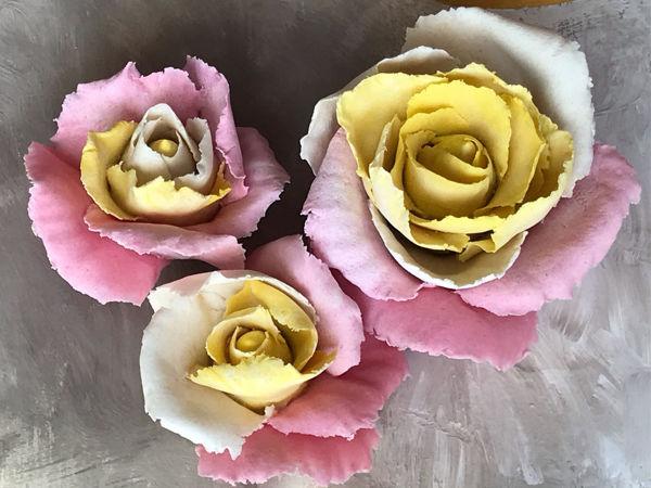 Лепим нежные розы из соленого теста   Ярмарка Мастеров - ручная работа, handmade