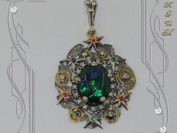Подвеска«Вселенная-опал» опал, драгоценные камни, золото,серебро | Ярмарка Мастеров - ручная работа, handmade