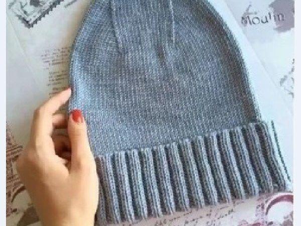 Подробный мастер-класс для начинающих: Вязаная шапка с отворотом спицами | Ярмарка Мастеров - ручная работа, handmade