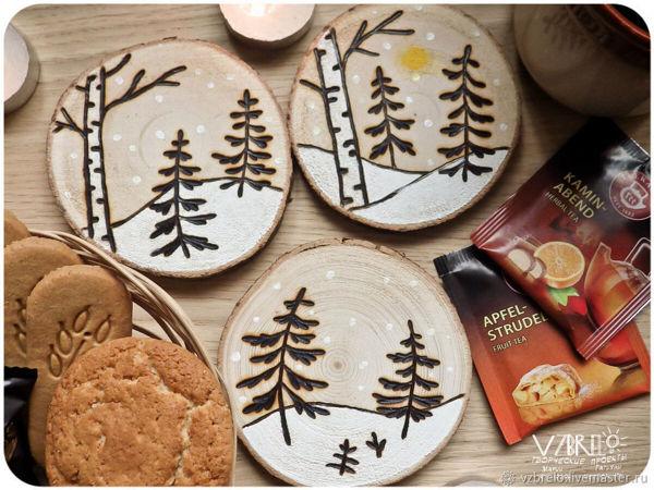 DIY Christmas Decor: Pyrograph & Paint Wooden Cuts | Livemaster - handmade
