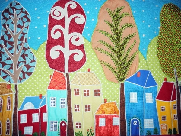 Детское лоскутное покрывало  «Городок» ! | Ярмарка Мастеров - ручная работа, handmade