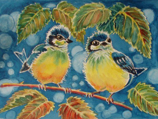 Рисуем с детьми картинку акварелью «Синички-яблочки» | Ярмарка Мастеров - ручная работа, handmade