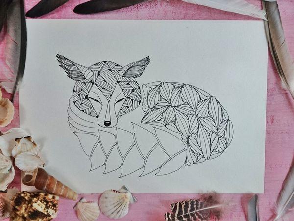 Раскраска в стиле doodling своими руками | Ярмарка Мастеров - ручная работа, handmade