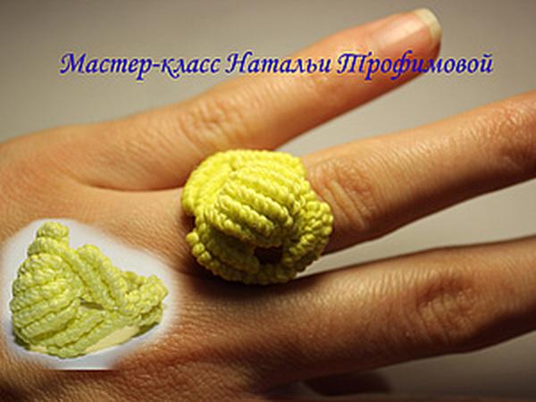 Кольцо в технике макраме   Ярмарка Мастеров - ручная работа, handmade