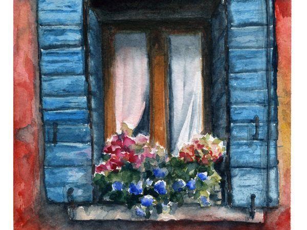 Рисуем акварелью уютное окно со ставнями   Ярмарка Мастеров - ручная работа, handmade