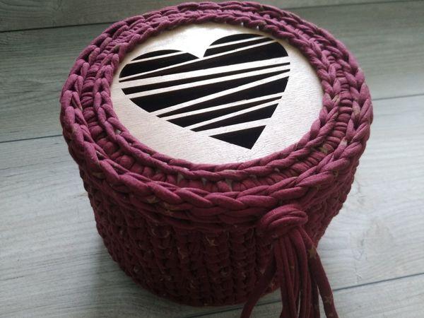 Вяжем шкатулку из трикотажной пряжи на основе деревянных донышек | Ярмарка Мастеров - ручная работа, handmade