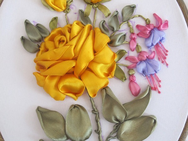 Вышивка лентами. Астры, Пионы или Роза с фуксией. | Ярмарка Мастеров - ручная работа, handmade