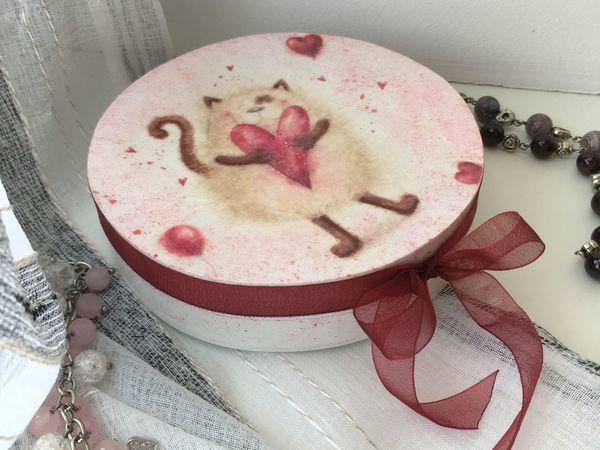 Создаем шкатулку «Влюбленный котик» в технике декупаж | Ярмарка Мастеров - ручная работа, handmade