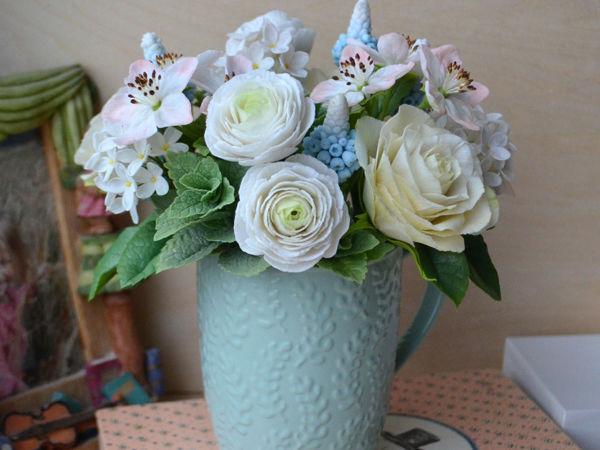 Аукцион с нуля на интерьерный букет с белыми цветами   Ярмарка Мастеров - ручная работа, handmade
