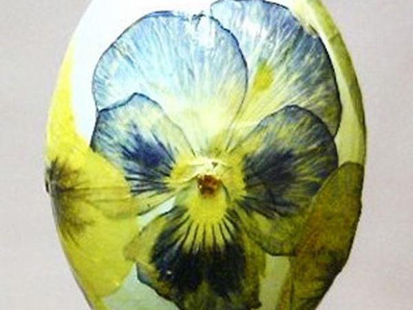 Пасхальные яйца с настоящими высушенными цветами и листьями   Ярмарка Мастеров - ручная работа, handmade