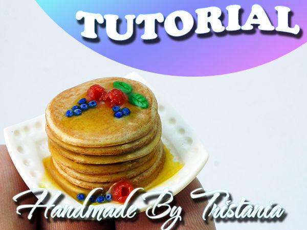 Видеоурок: кулинарная миниатюра из полимерной глины. Панкейки с ягодами и мёдом | Ярмарка Мастеров - ручная работа, handmade