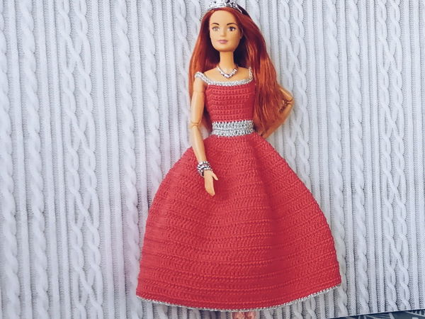 Вяжем крючком бальное платье для Барби | Ярмарка Мастеров - ручная работа, handmade