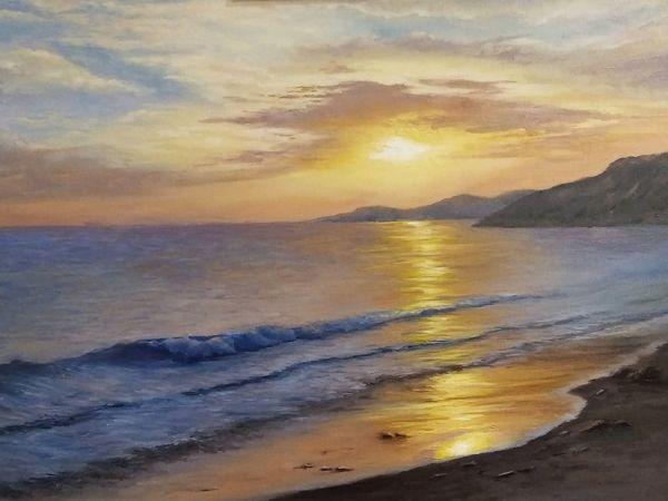 Как нарисовать морской закат, волны, облака. Поэтапный видеоурок | Ярмарка Мастеров - ручная работа, handmade