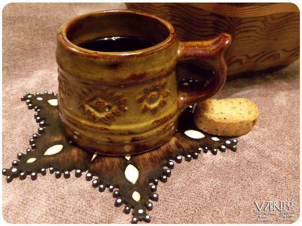Декорируем подставку под чашку в технике выжигания | Ярмарка Мастеров - ручная работа, handmade