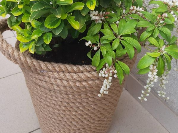 Декорируем горшок цветочный при помощи джутового каната | Ярмарка Мастеров - ручная работа, handmade