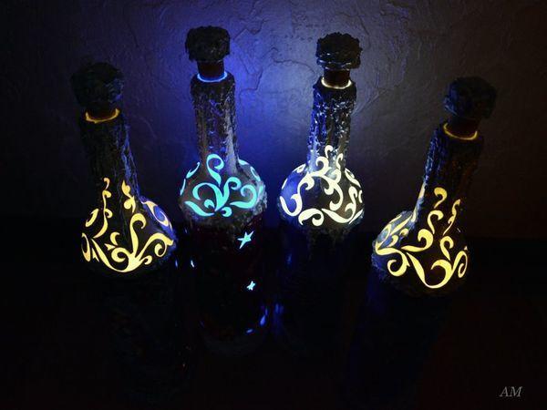 Они светятся!!!!!! Эксклюзивные бутылки-светильники на новогодний стол | Ярмарка Мастеров - ручная работа, handmade