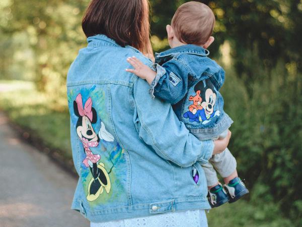 Расписываем джинсовые куртки для мамы и малыша | Ярмарка Мастеров - ручная работа, handmade