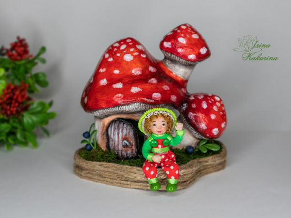Домик грибок с жильцом!   Ярмарка Мастеров - ручная работа, handmade