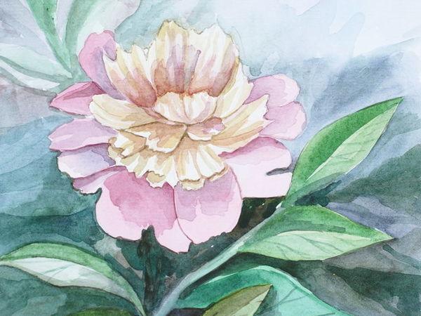 Пишем живописный пион акварелью | Ярмарка Мастеров - ручная работа, handmade