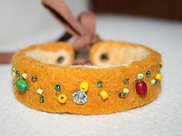 Как просто сделать браслет из остатков шерсти   Ярмарка Мастеров - ручная работа, handmade