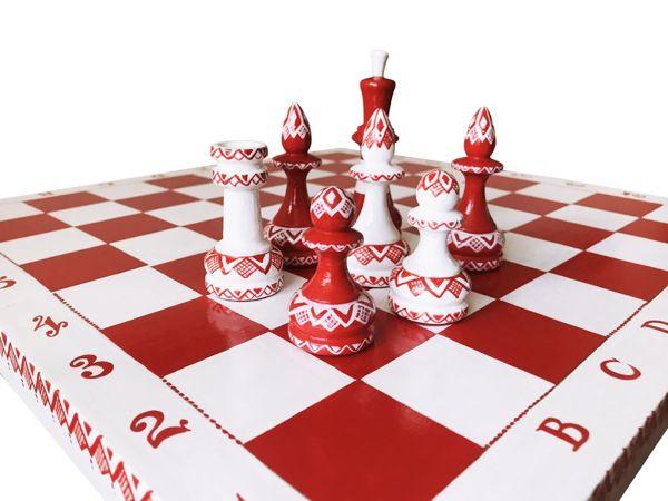 Торжество белого и красного в росписи новых шахмат | Ярмарка Мастеров - ручная работа, handmade