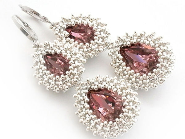 Creating ''Victoria II'' Earrings from Beads and Swarovski Crystals   Livemaster - handmade