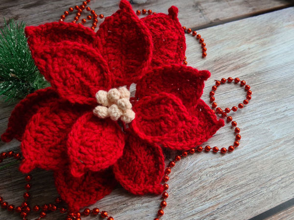 Вяжем Пуансеттию / Рождественскую звезду крючком | Ярмарка Мастеров - ручная работа, handmade